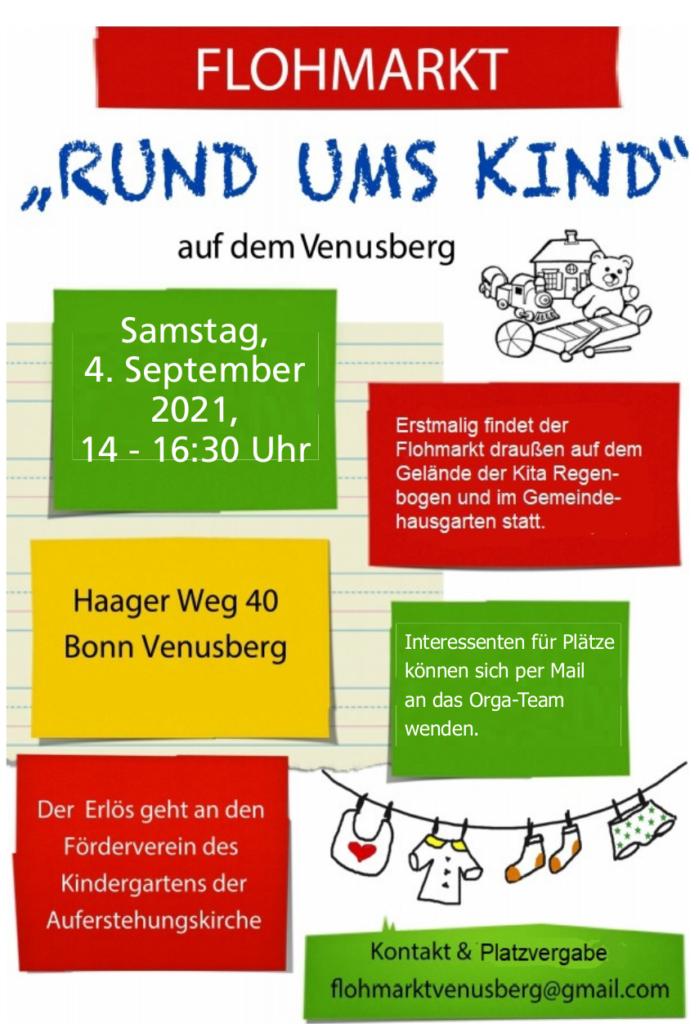 """Am 4.9.2021 findet der """"Flohmarkt rund ums Kind"""" auf dem Gelände der Kita Regenbogen statt."""